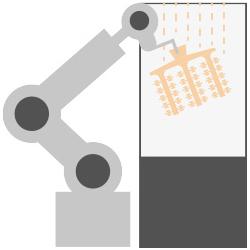 5. Enrobage céramique des couches renfort sur chaine automatique